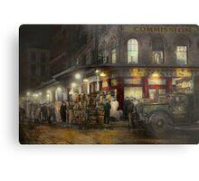 City - NY - Washington Street Market, buying at night - 1952 Metal Print
