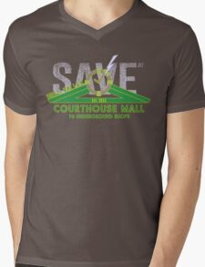 SAVE at the Hill Valley Courthouse Mall Mens V-Neck T-Shirt