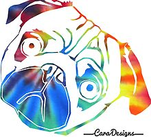 Tie dye pug face by CaraPannell