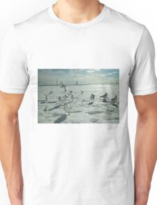 Gulls on Snowy Coney Island Beach Unisex T-Shirt