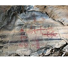 rare Red Hematite & white(?) paint pictograph in Picture Gorge, OR Photographic Print