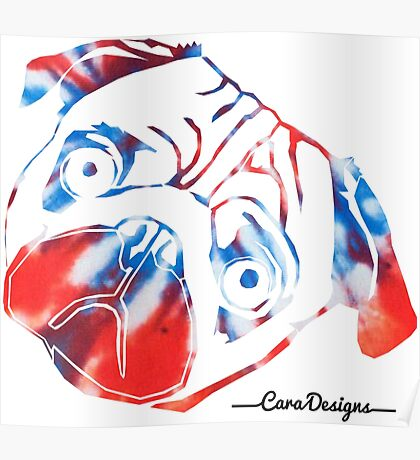 Tie dye pug face Poster