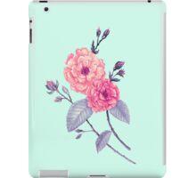 Rose, Soft Peach on Mint iPad Case/Skin