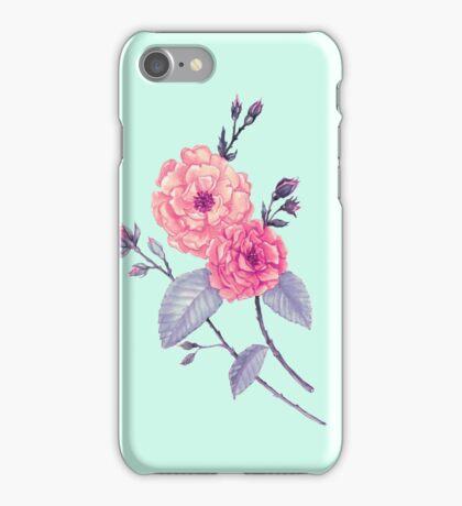 Rose, Soft Peach on Mint iPhone Case/Skin