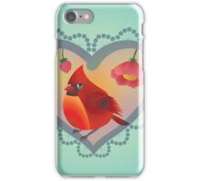 Red Robin Retro Design – Naïve Style Bird  iPhone Case/Skin