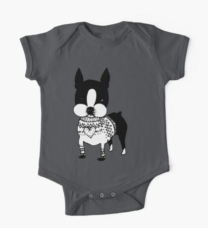 Sweater Dog One Piece - Short Sleeve