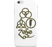 ANCIENT PAGAN ELEMENTS SYMBOLS (L) - olive grunge NEW iPhone Case/Skin