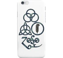 ANCIENT PAGAN ELEMENTS SYMBOLS (L) - blue grunge iPhone Case/Skin