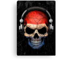 Dj Skull with Dutch Flag Canvas Print