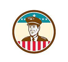 Airline Pilot Aviator USA Flag Circle Retro Photographic Print