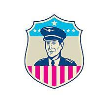 American Airline Pilot Aviator USA Flag Shield Retro Photographic Print