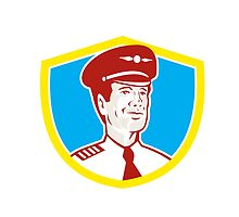 Aircraft Pilot Aviator Shield Retro by patrimonio