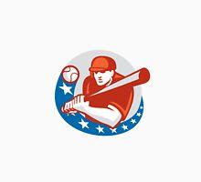 Baseball Player Batter Stars Circle Retro Unisex T-Shirt