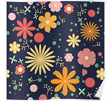 flower meadow. navy blue Poster