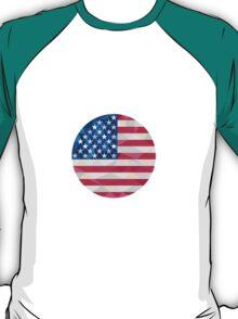 USA Flag Stars and Stripes Circle Low Polygon T-Shirt