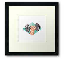 Hand Lifting Dumbbell Low Polygon Framed Print