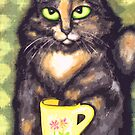 Tea Loving Tortie Cat by Jamiecreates1