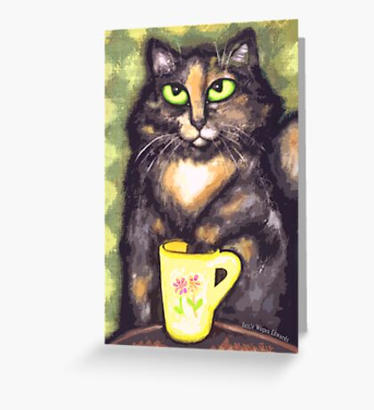 Tea Loving Tortie Cat Greeting Card