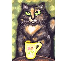Tea Loving Tortie Cat Photographic Print