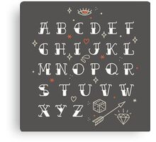 Homemade tattoo's alphabet Canvas Print