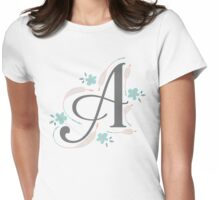 Monogram A Arrows and Flowers Womens Fitted T-Shirt