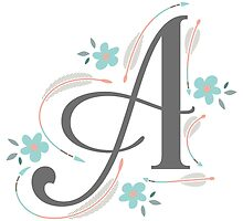 Monogram A Arrows and Flowers by junkydotcom
