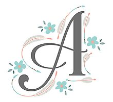 Monogram A Arrows and Flowers Photographic Print