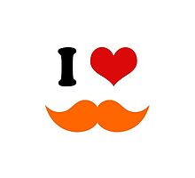 I Heart I Love Ginger Red Orange Mustache by TigerLynx
