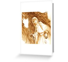 Children of Wolf Pit - conte on heavy cartridge Greeting Card