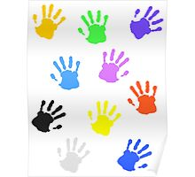 Colorful handprints Poster