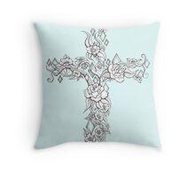 Rose and Flower Tattoo Cross Throw Pillow