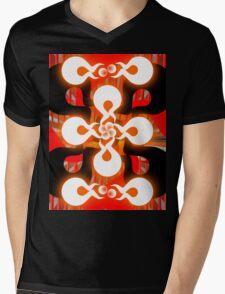 Black & Red Ora Mens V-Neck T-Shirt