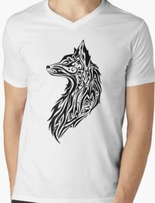 Tribal Fox Mens V-Neck T-Shirt