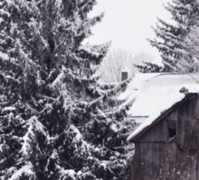 Redreaming Wood Barn in Snow Sticker