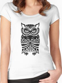Tribal Owl Women's Fitted Scoop T-Shirt