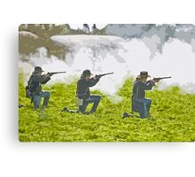 Stylized photo of three Civil War re-enactor soldiers on battlefield firing rifles. Canvas Print