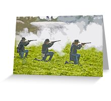 Stylized photo of three Civil War re-enactor soldiers on battlefield firing rifles. Greeting Card