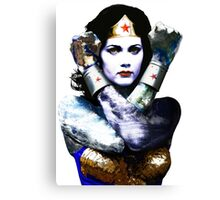 "Title: ""First Date"", Wonder Woman, Lynda Carter inspired Earth Girl, Canvas Print"