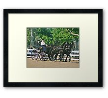 Stylized photo of a woman driving an Andalusian horse-drawn carriage in dressage competition at Del Mar Horsepark in Del Mar, CA US. Framed Print