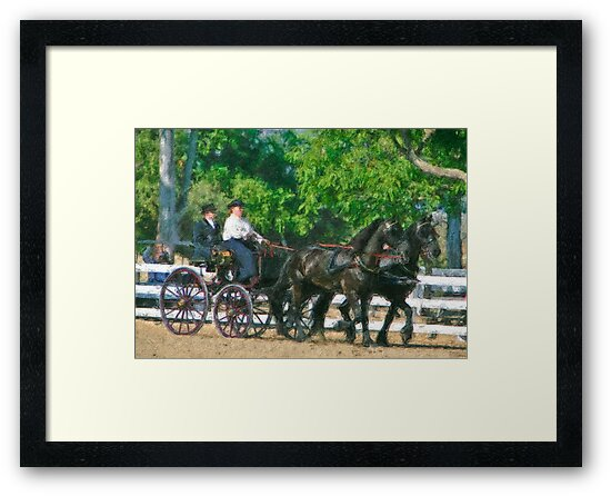 Impasto-stylized photo of  a woman driving an Andalusian horse-drawn carriage in dressage competition at Del Mar Horsepark in Del Mar, CA US. by NaturaLight
