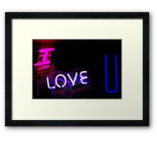 I love you neon light sign at night photograph romantic designs Framed Print