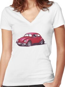 Volkswagen Beetle 1957. Women's Fitted V-Neck T-Shirt