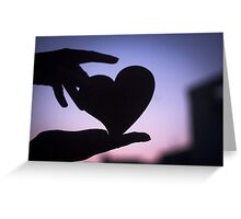 Love heart shape in hands photograph romantic valentines day design Greeting Card