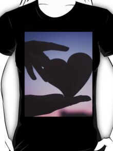 Love heart shape in hands photograph romantic valentines day design T-Shirt