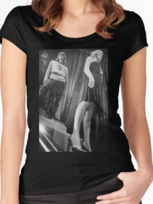 Shop dummy female mannequins black and white 35mm analog film photo Women's Fitted Scoop T-Shirt