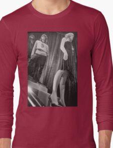 Shop dummy female mannequins black and white 35mm analog film photo Long Sleeve T-Shirt