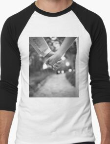 Groom holding hands with bride black and white wedding photograph Men's Baseball ¾ T-Shirt