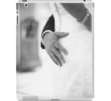 Groom holding bottom of bride black and white wedding photograph iPad Case/Skin