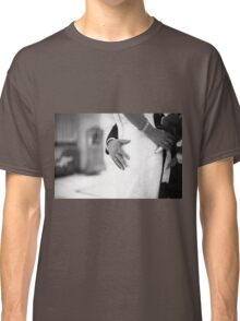 Groom holding bottom of bride black and white wedding photograph Classic T-Shirt