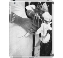 Bride and groom holding black and white wedding photograph iPad Case/Skin